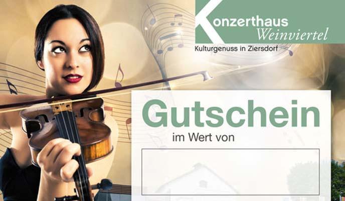 Geigenspielende Dame, Logo Konzerthaus, Gutschein im Wert von